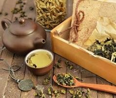 natura morta con set da tè cinese e accessori
