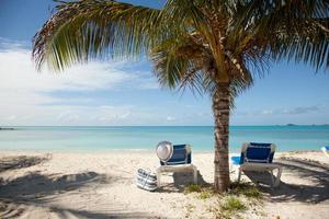 spiaggia tropicale con lettini