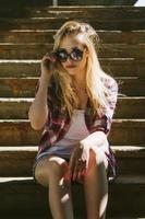 ragazza alla moda hipster foto