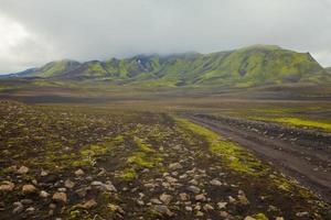 famoso polo escursionistico islandese landmannalaugar montagne colorate vista panoramica, islanda foto