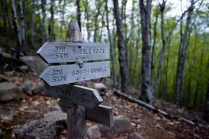Bubble Rock direzione segno al parco nazionale di acadia foto