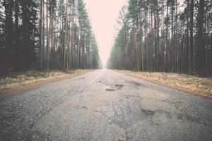 vecchia strada nella foresta. Vintage ▾.