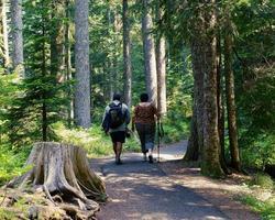 uomo e donna in escursione di un giorno