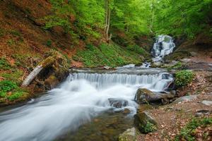 monti carpazi. Shipot cascata, fiume di montagna foto