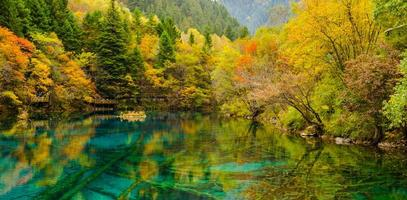 autunno nel parco nazionale di jiuzhaigou, sichuan, cina