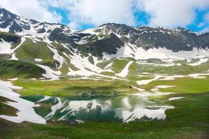 bellissimo lago di montagna con la riflessione delle montagne più vicine