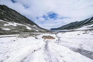 lago ghiacciato con la montagna