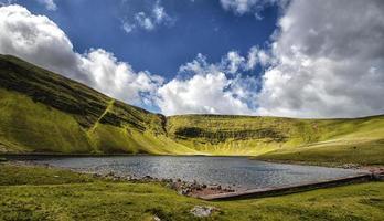scenario del lago di montagna con cielo azzurro e nuvole
