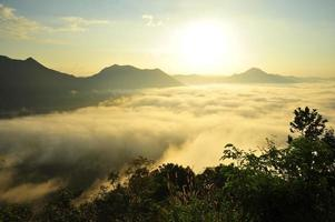 paesaggio di montagna nella nebbia all'alba