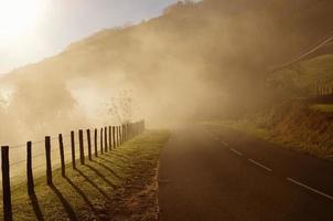 strada di montagna nella nebbia