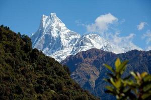 monte machapuchare o montagne dell'Himalaya a coda di pesce foto