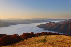 nebbia di montagna mattina nei Carpazi foto