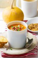 zuppa di zucca in una tazza bianca foto