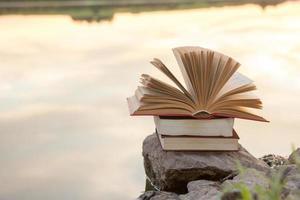 pila di libro con copertina rigida, libro aperto sul paesaggio natura vaga