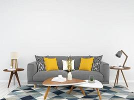 rendering 3d interni soggiorno bianco foto