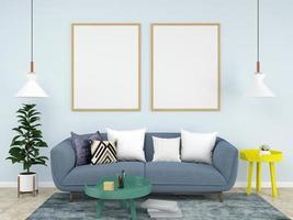 modello di cornice vuota in soggiorno blu pastello foto