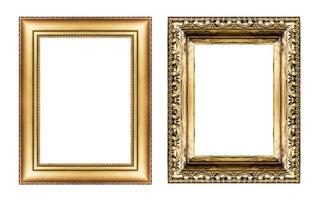 set di cornice dorata d'epoca, spazio vuoto isolato su bianco foto