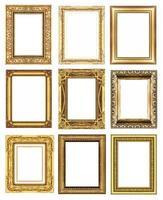 set 9 di montatura in oro vintage isolato su sfondo bianco. foto