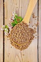 grano saraceno al cucchiaio con fiore a bordo foto