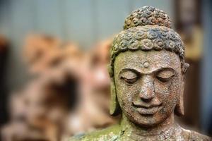statua di buddha di pietra ricoperta di muschio
