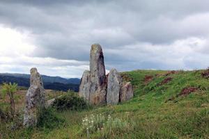 pietra in piedi in un campo verde