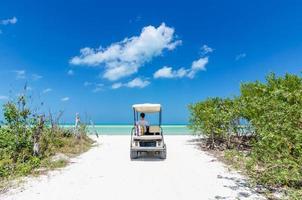 giovane che guida sul carrello da golf in spiaggia sabbiosa tropicale