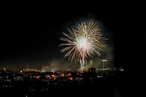 fuochi d'artificio dai colori vivaci nel cielo notturno foto