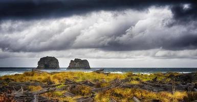 pacific storm approccio a rock a way beach, oregon foto