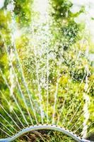 irrigatore in giardino estivo su sfondo verde natura, primi piani foto