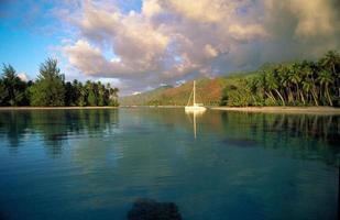 barca nella laguna di moorea