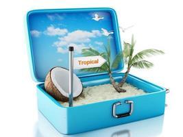 Valigia da viaggio 3d paradise beach. isolato sfondo bianco