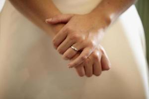 primer piano de las manos de una novia con alianza