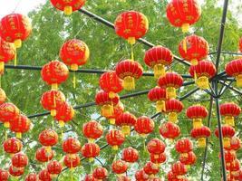 lanterna rossa, stile cinese, appesa all'aperto