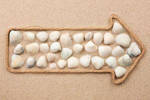 puntatore fatto di corda con conchiglie di mare