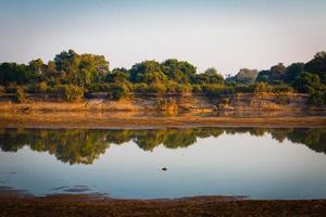 riflesso dell'acqua nel fiume luangwa sud