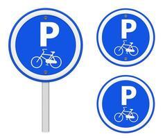 segno di parcheggio per biciclette, parte di una serie.