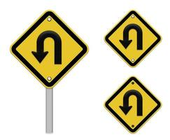 cartello stradale di inversione di marcia - cartello stradale giallo con simbolo di svolta