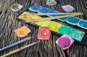 scatola di colori ad acqua e pennello