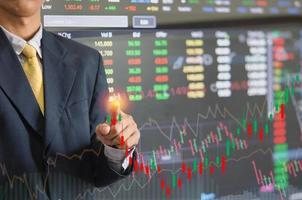 uomo d'affari con grafico azionario e grafici