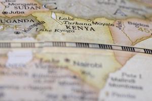 macro del kenya sul globo terrestre foto