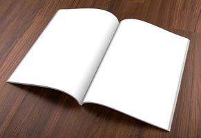 catalogo vuoto, brochure, riviste, libro mock up su sfondo di legno