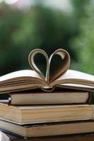 pila di libri a forma di cuore