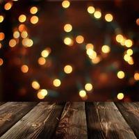 sfondo di Natale con tavolo rustico vuoto