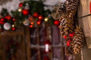 decorazioni natalizie pigne appese al muro
