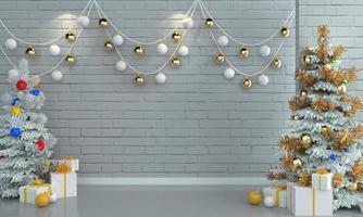 albero di natale e regali su sfondo muro di mattoni bianchi.