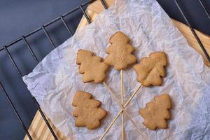 biscotti di panpepato su bastoncini su carta bianca stropicciata