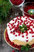 torta di cheesecake al cioccolato bianco con mirtilli rossi