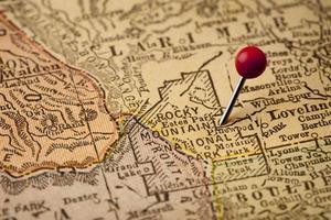 mappa vintage del parco nazionale delle montagne rocciose