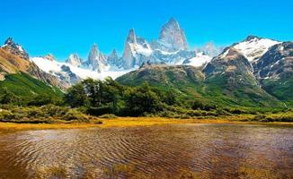 paesaggio della patagonia con mt fitz roy in argentina, sud america