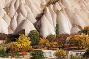 formazioni rocciose di cappadocia e alberi da frutto in autunno